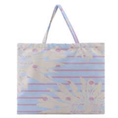 Flower Floral Sunflower Line Horizontal Pink White Blue Zipper Large Tote Bag by Mariart