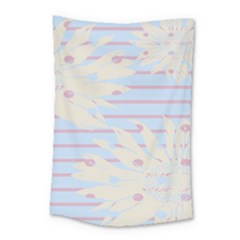 Flower Floral Sunflower Line Horizontal Pink White Blue Small Tapestry by Mariart