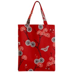 Dandelions Red Butterfly Flower Floral Zipper Classic Tote Bag by Mariart