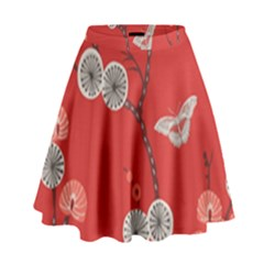 Dandelions Red Butterfly Flower Floral High Waist Skirt by Mariart