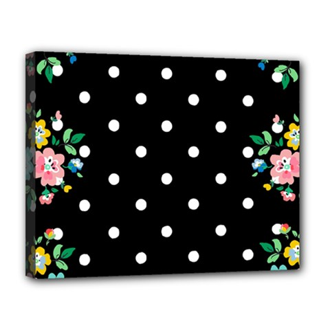 Flower Frame Floral Polkadot White Black Canvas 14  X 11  by Mariart