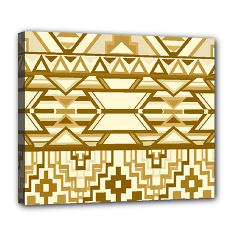 Geometric Seamless Aztec Gold Deluxe Canvas 24  X 20   by Mariart