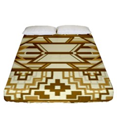 Geometric Seamless Aztec Gold Fitted Sheet (queen Size) by Mariart