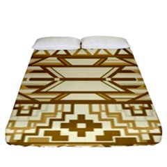 Geometric Seamless Aztec Gold Fitted Sheet (king Size) by Mariart