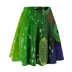 Geometric Shapes Letters Cubes Green Blue High Waist Skirt by Mariart