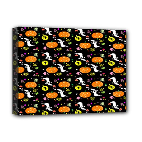 Ghost Pumkin Craft Halloween Hearts Deluxe Canvas 16  X 12   by Mariart