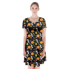 Ghost Pumkin Craft Halloween Hearts Short Sleeve V Neck Flare Dress