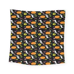 Ghost Pumkin Craft Halloween Hearts Square Tapestry (small) by Mariart