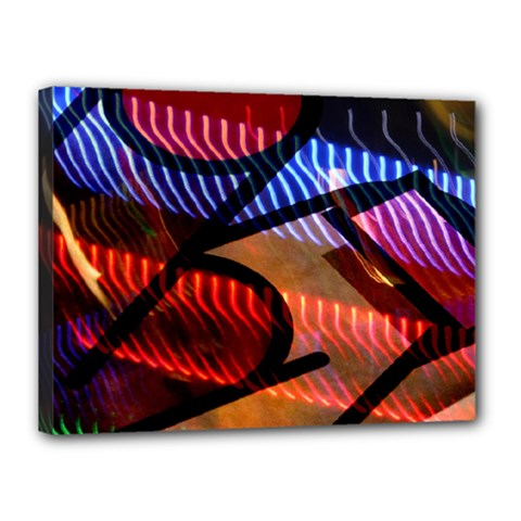 Graphic Shapes Experimental Rainbow Color Canvas 16  X 12  by Mariart