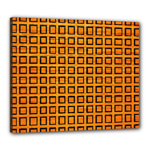 Halloween Squares Plaid Orange Canvas 24  X 20  by Mariart