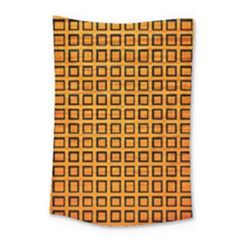 Halloween Squares Plaid Orange Small Tapestry by Mariart