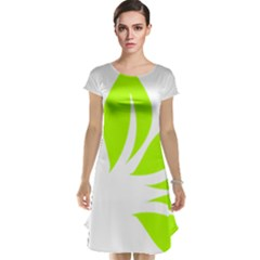 Leaf Green White Cap Sleeve Nightdress by Mariart