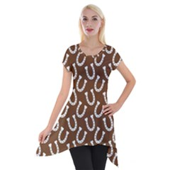 Horse Shoes Iron White Brown Short Sleeve Side Drop Tunic