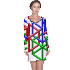 Impossible Cubes Red Green Blue Long Sleeve Nightdress by Mariart