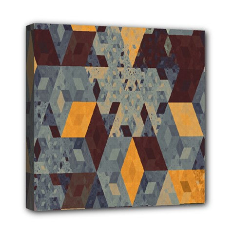 Apophysis Isometric Tessellation Orange Cube Fractal Triangle Mini Canvas 8  X 8  by Mariart