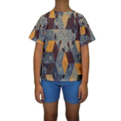 Apophysis Isometric Tessellation Orange Cube Fractal Triangle Kids  Short Sleeve Swimwear by Mariart