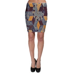 Apophysis Isometric Tessellation Orange Cube Fractal Triangle Bodycon Skirt by Mariart