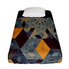 Apophysis Isometric Tessellation Orange Cube Fractal Triangle Fitted Sheet (single Size) by Mariart