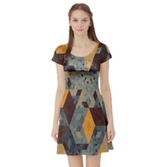 Apophysis Isometric Tessellation Orange Cube Fractal Triangle Short Sleeve Skater Dress by Mariart