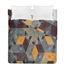 Apophysis Isometric Tessellation Orange Cube Fractal Triangle Duvet Cover Double Side (full/ Double Size) by Mariart