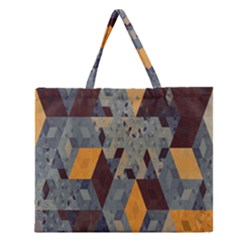 Apophysis Isometric Tessellation Orange Cube Fractal Triangle Zipper Large Tote Bag by Mariart