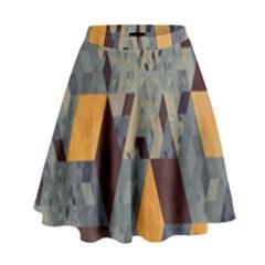 Apophysis Isometric Tessellation Orange Cube Fractal Triangle High Waist Skirt by Mariart
