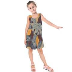 Apophysis Isometric Tessellation Orange Cube Fractal Triangle Kids  Sleeveless Dress by Mariart