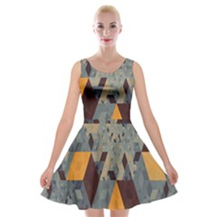 Apophysis Isometric Tessellation Orange Cube Fractal Triangle Velvet Skater Dress by Mariart