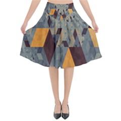 Apophysis Isometric Tessellation Orange Cube Fractal Triangle Flared Midi Skirt by Mariart