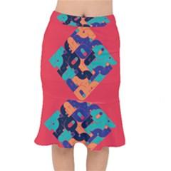 Plaid Red Sign Orange Blue Mermaid Skirt