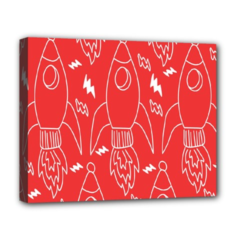 Moon Red Rocket Space Deluxe Canvas 20  X 16   by Mariart