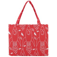 Moon Red Rocket Space Mini Tote Bag by Mariart