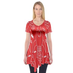Moon Red Rocket Space Short Sleeve Tunic  by Mariart