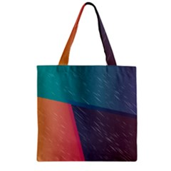 Modern Minimalist Abstract Colorful Vintage Adobe Illustrator Blue Red Orange Pink Purple Rainbow Zipper Grocery Tote Bag by Mariart