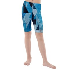 Plane And Solid Geometry Charming Plaid Triangle Blue Black Kids  Mid Length Swim Shorts by Mariart