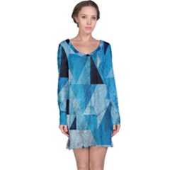 Plane And Solid Geometry Charming Plaid Triangle Blue Black Long Sleeve Nightdress by Mariart