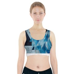 Plane And Solid Geometry Charming Plaid Triangle Blue Black Sports Bra With Pocket