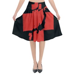Sign Health Red Black Flared Midi Skirt