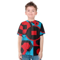 Stancilm Circle Round Plaid Triangle Red Blue Black Kids  Cotton Tee
