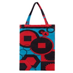 Stancilm Circle Round Plaid Triangle Red Blue Black Classic Tote Bag by Mariart