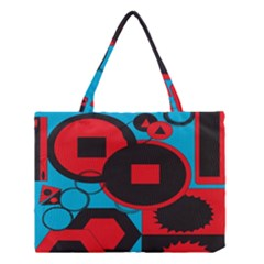 Stancilm Circle Round Plaid Triangle Red Blue Black Medium Tote Bag by Mariart