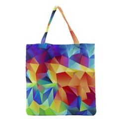 Triangles Space Rainbow Color Grocery Tote Bag by Mariart