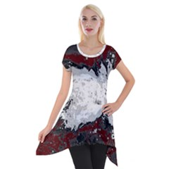 Abstraction Short Sleeve Side Drop Tunic by Valentinaart