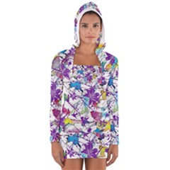 Lilac Lillys Women s Long Sleeve Hooded T Shirt