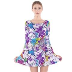 Lilac Lillys Long Sleeve Velvet Skater Dress