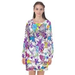 Lilac Lillys Long Sleeve Chiffon Shift Dress