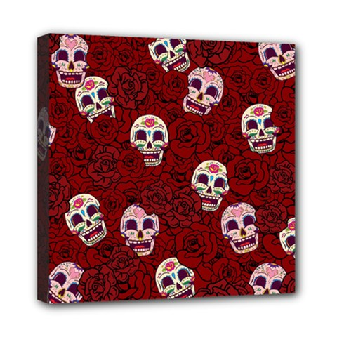 Funny Skull Rosebed Mini Canvas 8  X 8