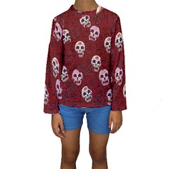 Funny Skull Rosebed Kids  Long Sleeve Swimwear