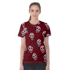 Funny Skull Rosebed Women s Cotton Tee