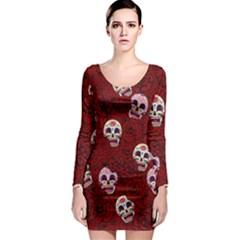 Funny Skull Rosebed Long Sleeve Bodycon Dress
